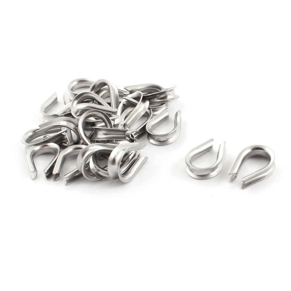 25PCS Silver Tone Stainless Steel Cable Thimbles for 4mm 1/8 Inch Wire Rope