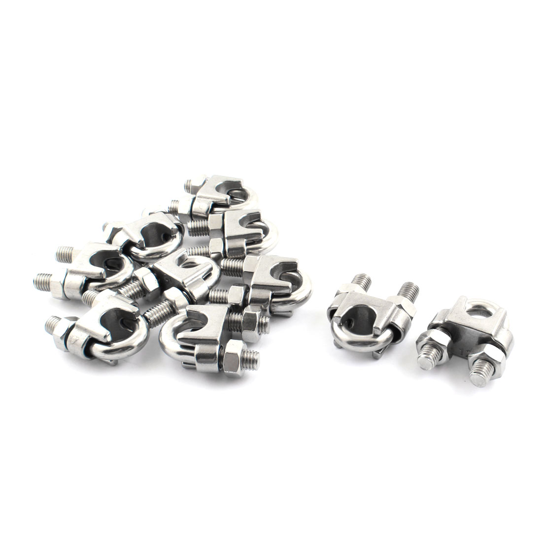 "10pcs Stainless Steel Cable Clip Saddle Clamp for 1/2"" 12mm Wire Ropes"