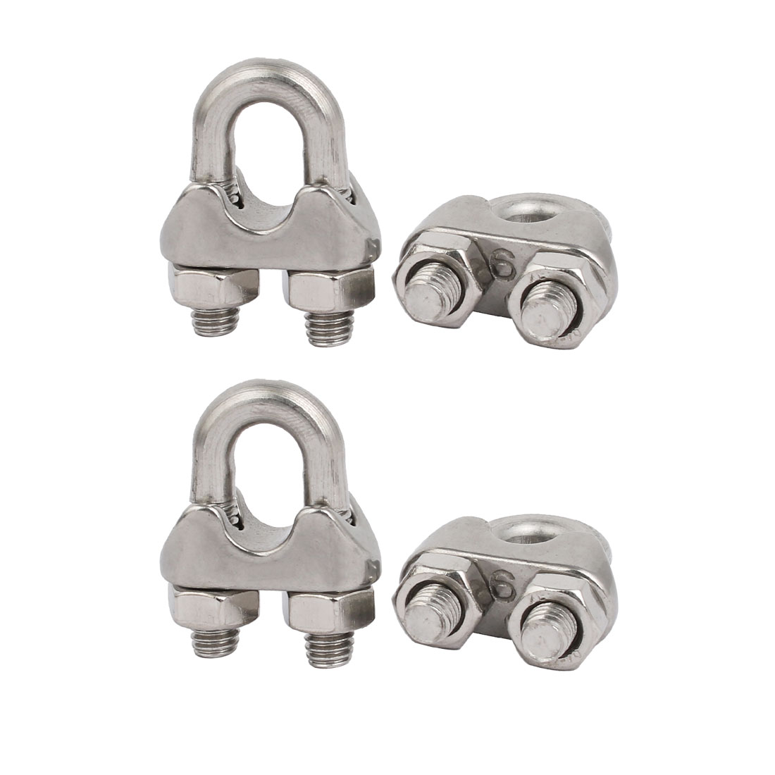 "4pcs Stainless Steel Cable Clip Saddle Clamp for 1/4"" 6mm Wire Ropes"