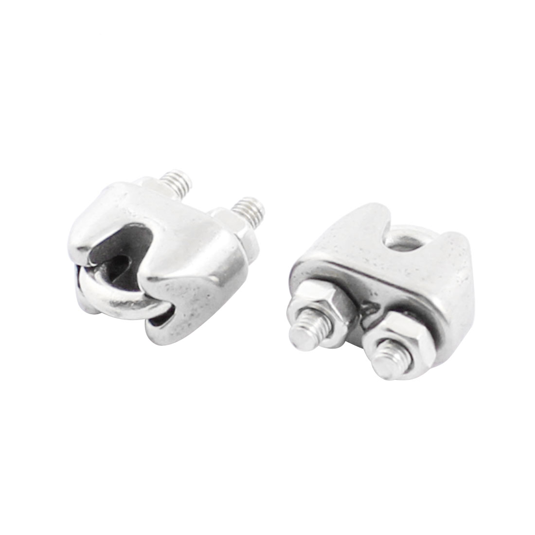 "2pcs Stainless Steel Cable Clip Saddle Clamp for 2/25"" 2mm Wire Ropes"