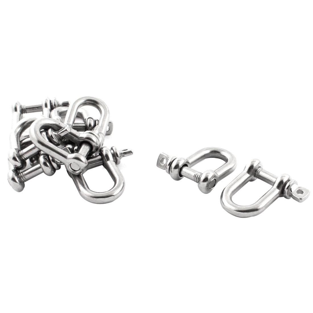 10PCS Silver Tone Stainless Steel M5 Thread Wire Rope Fastener D Shackles