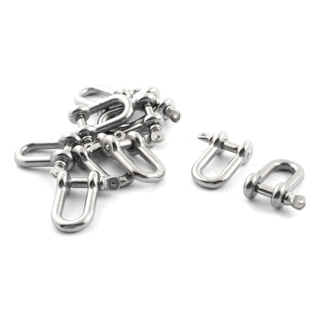 10PCS Silver Tone Stainless Steel M4 Thread Wire Rope Fastener D Shackles