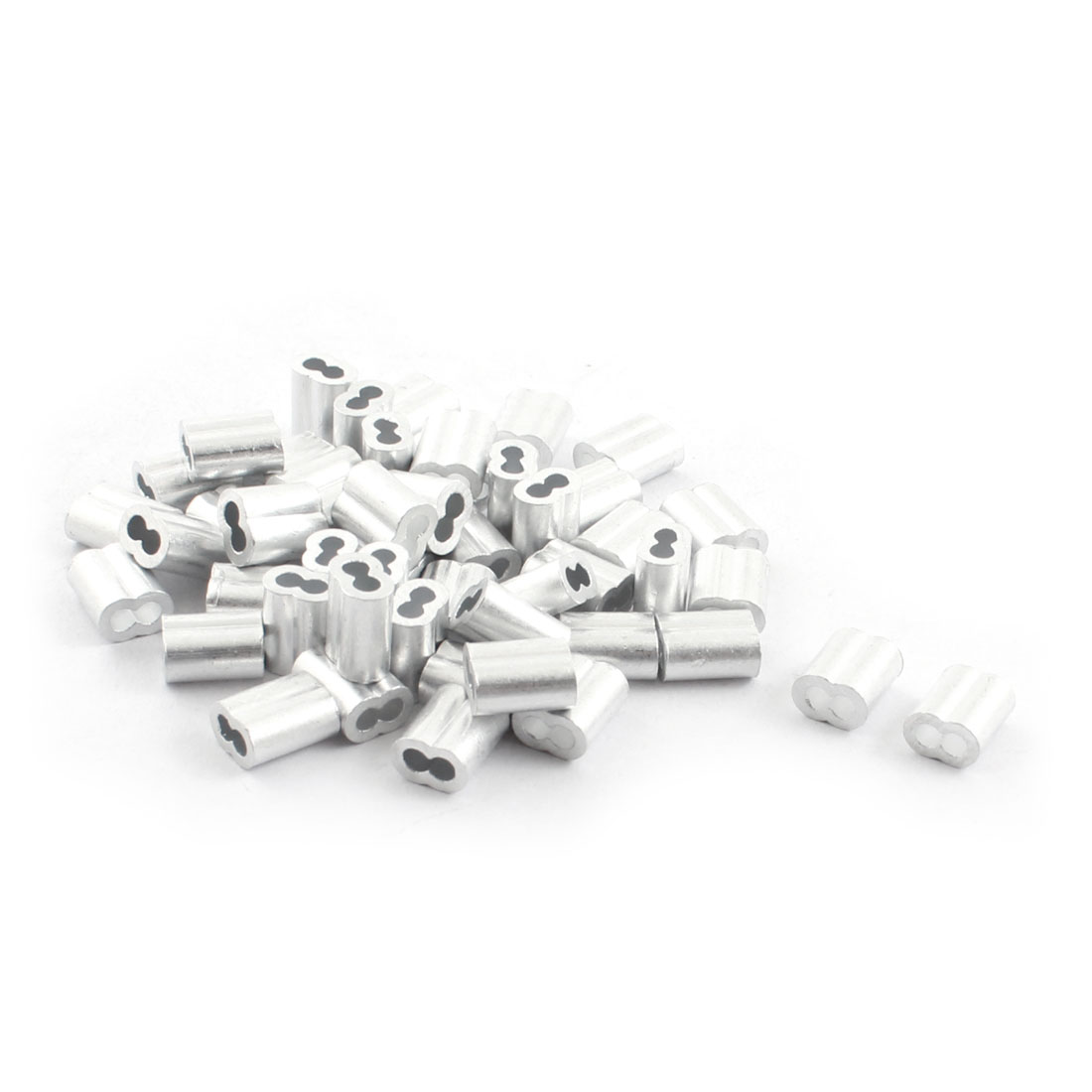 "50Pcs 1/8""x 3/8"" Aluminum Hourglass Ferrules Sleeve Crimp for 2mm Wire Rope"