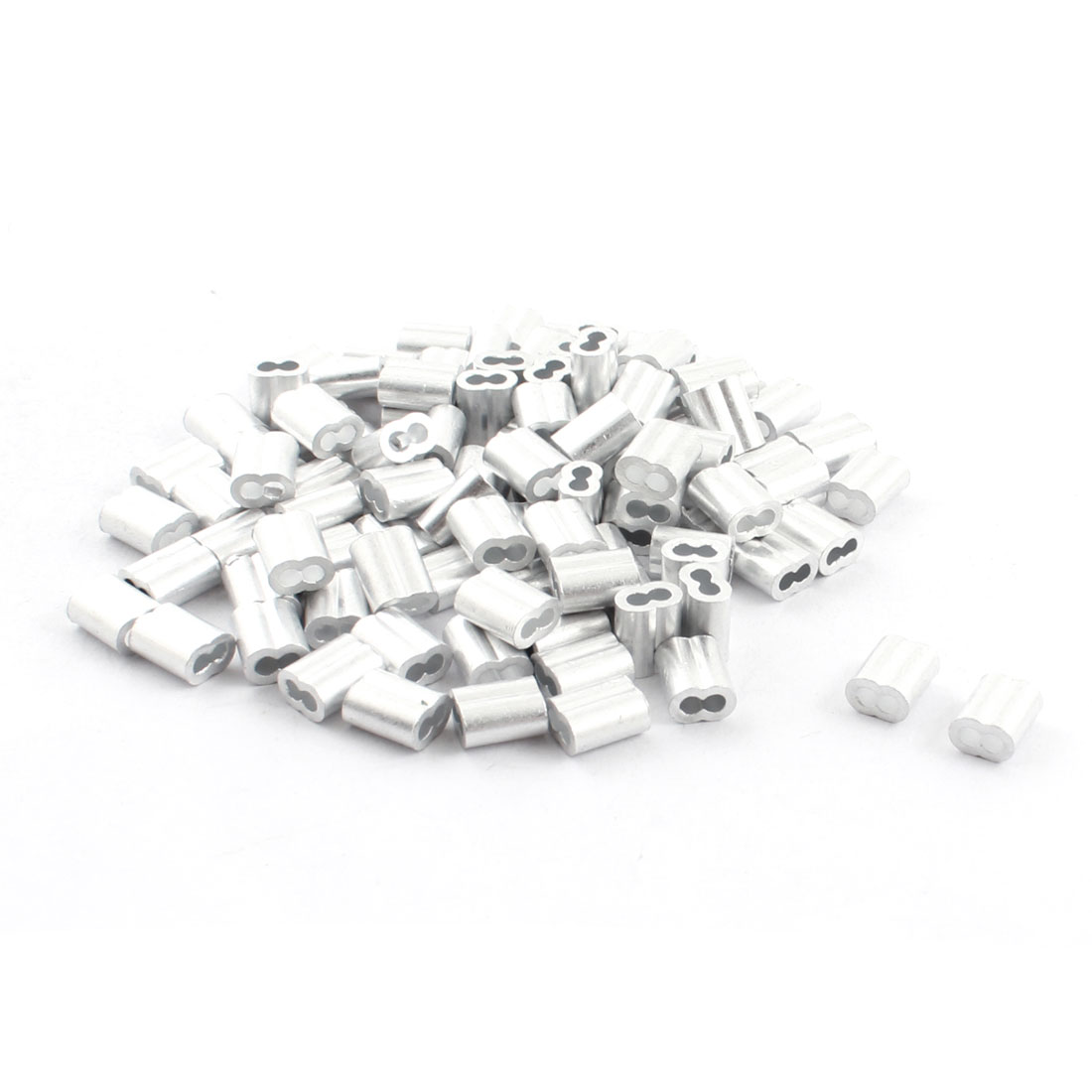 100Pcs 9mm Long Aluminum Hourglass Ferrules Sleeve Crimp for 2mm Wire Rope