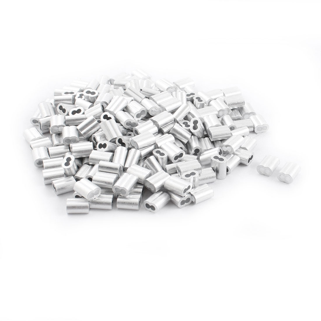 "200Pcs 1/8""x 3/8"" Aluminum Hourglass Ferrules Sleeve Crimp for 2mm Wire Rope"