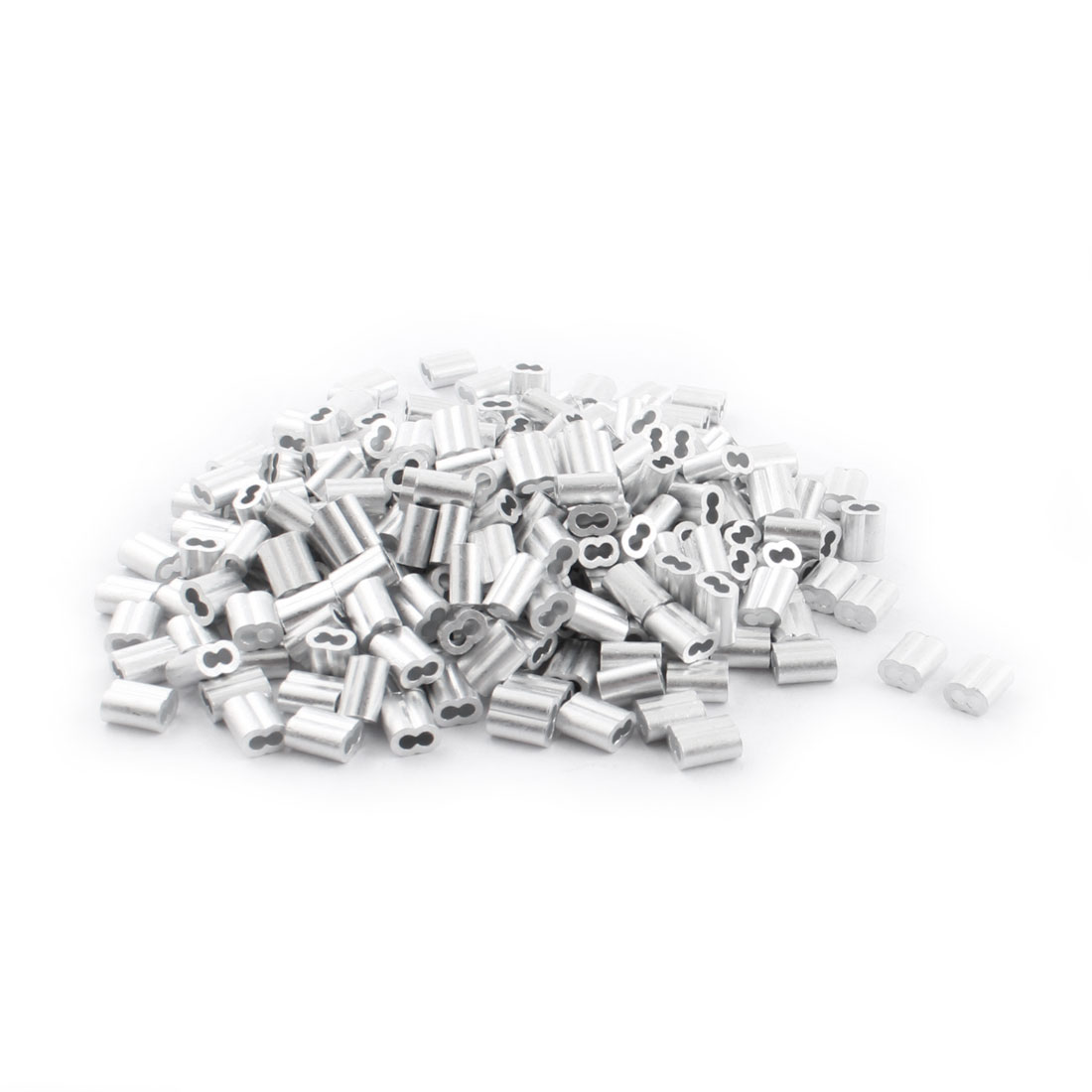 "250Pcs 1/8""x 3/8"" Aluminum Hourglass Ferrules Sleeve Crimp for 2mm Wire Rope"