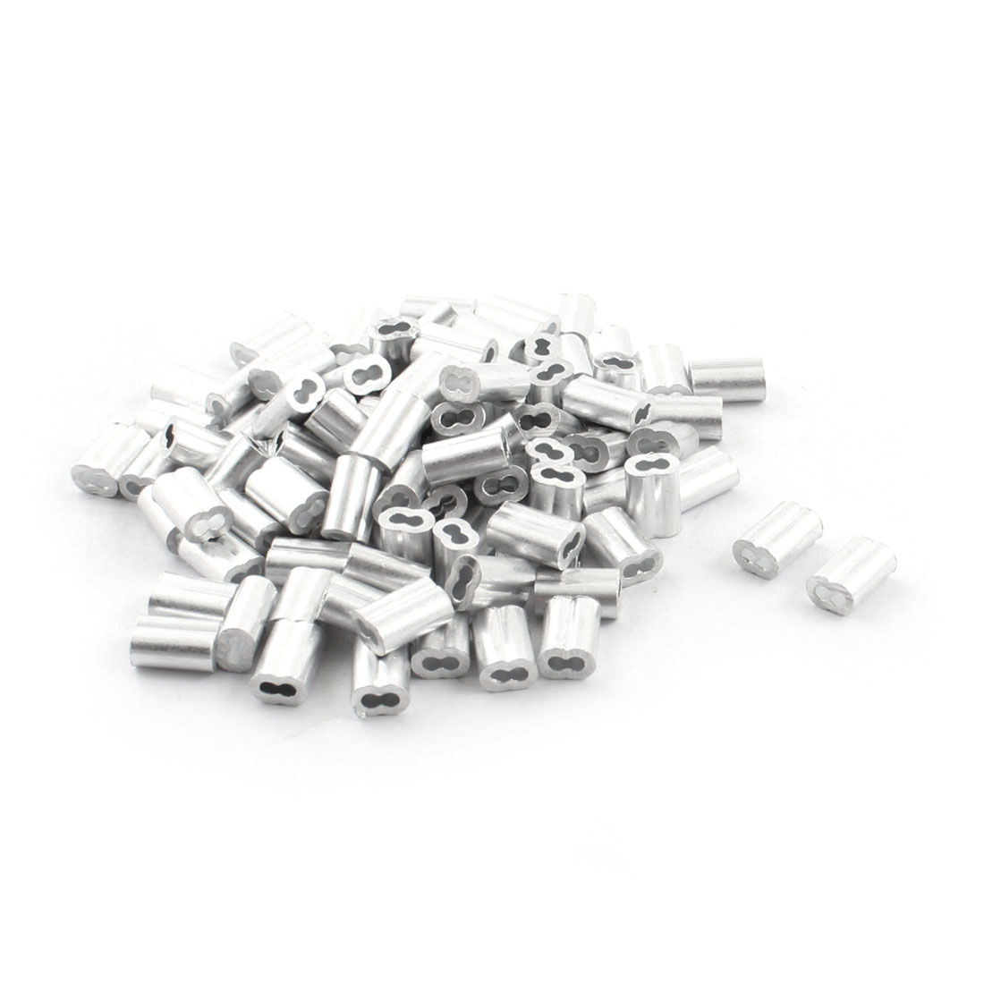 "100Pcs 2/25""x 3/8"" Aluminum Hourglass Ferrules Sleeve Crimp for 1.5mm Wire Rope"