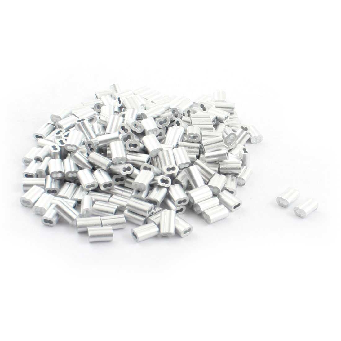 "250Pcs 2/25""x 3/8"" Aluminum Hourglass Ferrules Sleeve Crimp for 1.5mm Wire Rope"