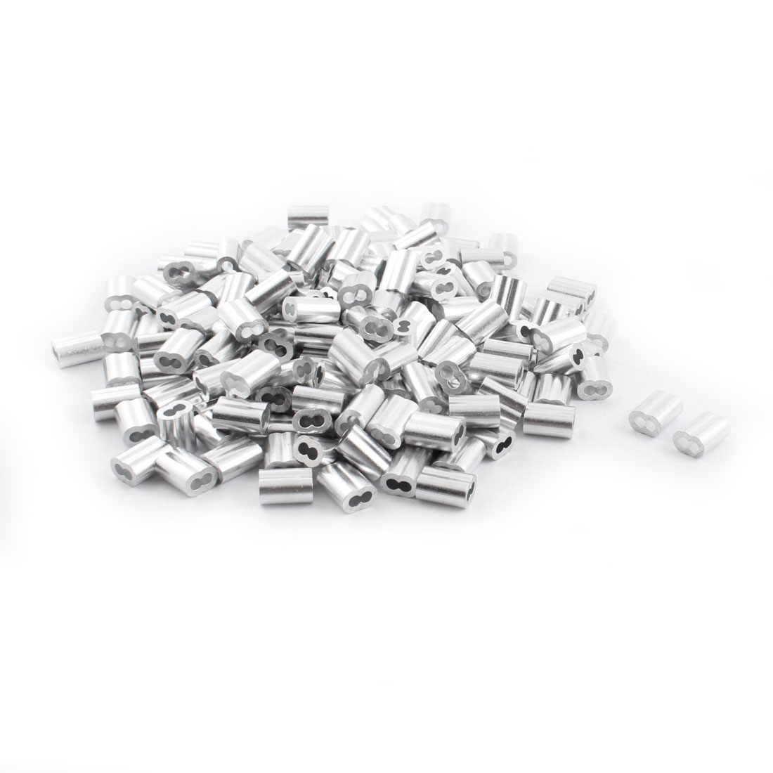 "200Pcs 1/8""x 1/2"" Aluminum Hourglass Ferrules Sleeve Crimp for 2.5mm Wire Rope"