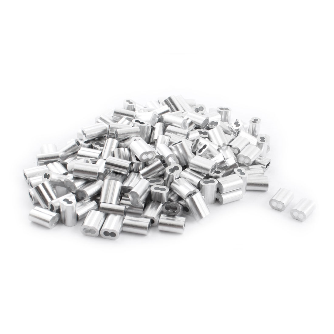 "250Pcs 1/8""x 1/2"" Aluminum Hourglass Ferrules Sleeve Crimp for 2.5mm Wire Rope"