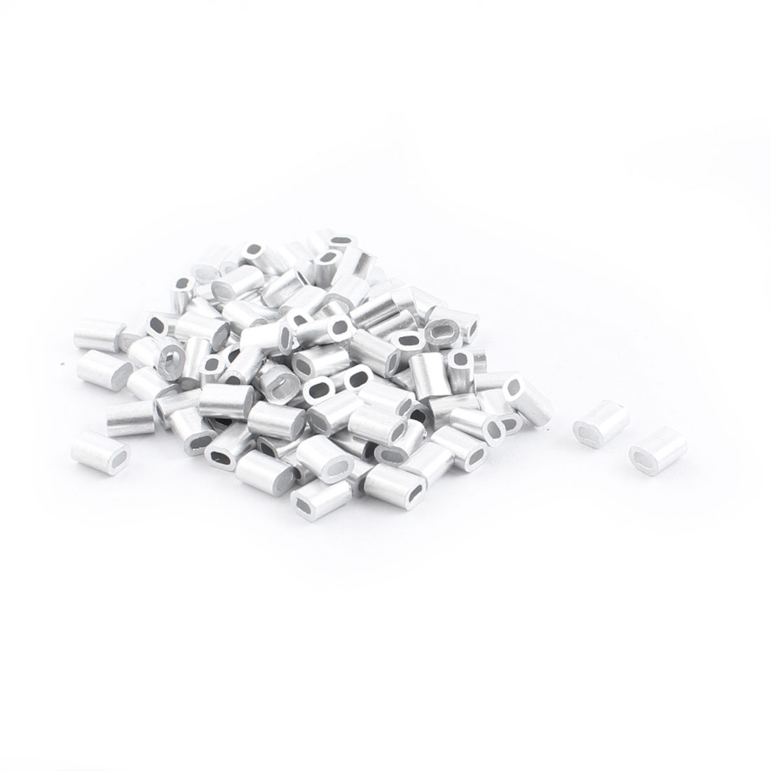 100PCS 1mm Steel Cables Aluminium Wire Rope Ferrules 5mm x 2mm