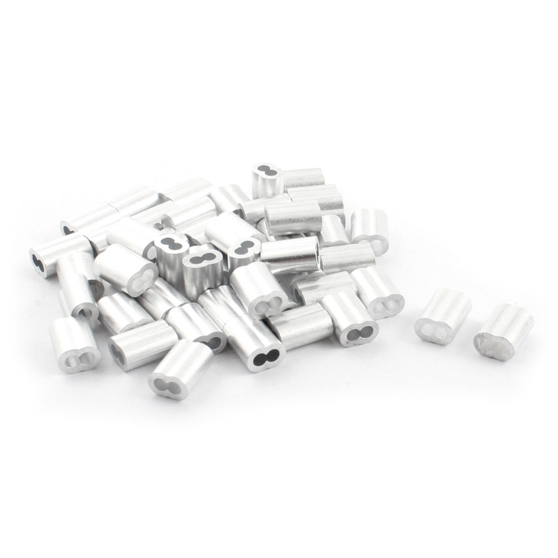 50Pcs 15mm Aluminum Hourglass Ferrules Sleeve Crimp for 3mm Wire Rope