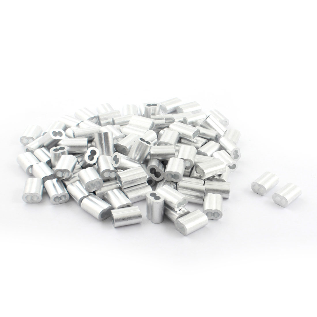 "100Pcs 1/8""x 5/8"" Aluminum Hourglass Ferrules Sleeve Crimp for 3mm Wire Rope"