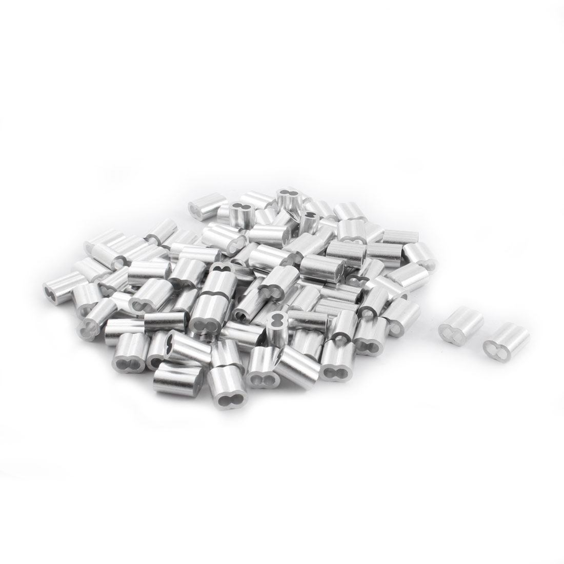 "100Pcs 1/4""x 5/8"" Aluminum Hourglass Ferrules Sleeve Crimp for 4mm Wire Rope"