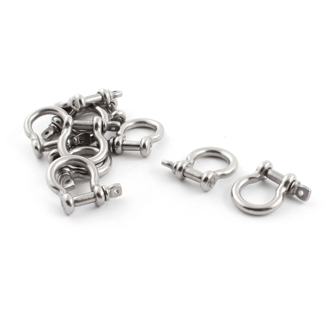 10PCS Silver Tone Stainless Steel Fastener Bow Shackles for 4mm 5/32 Inch Wire Rope