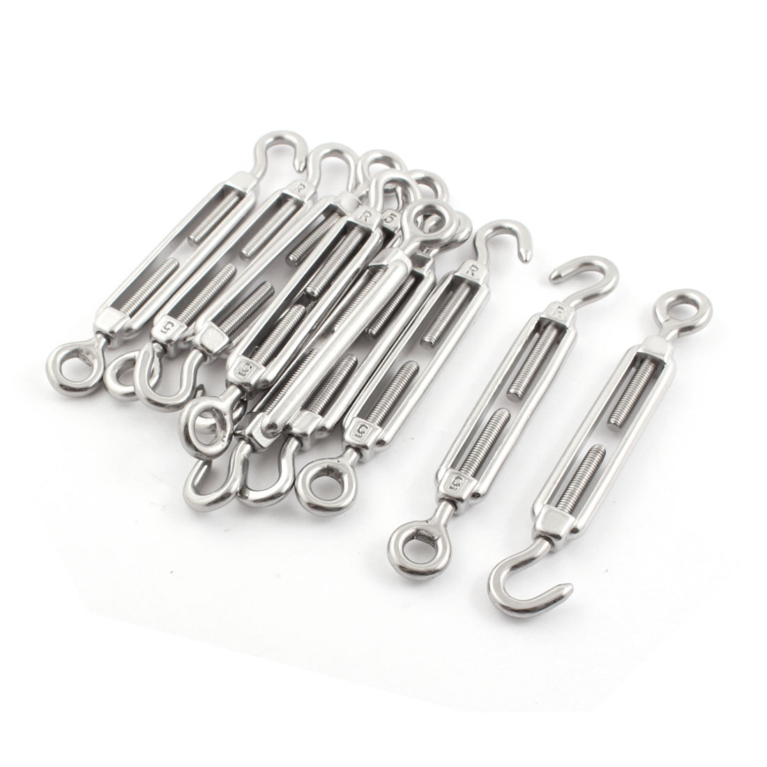 10PCS Silver Tone Stainless Steel Hook Eye Turnbuckle for 5mm 1/5 Inch Wire Rope