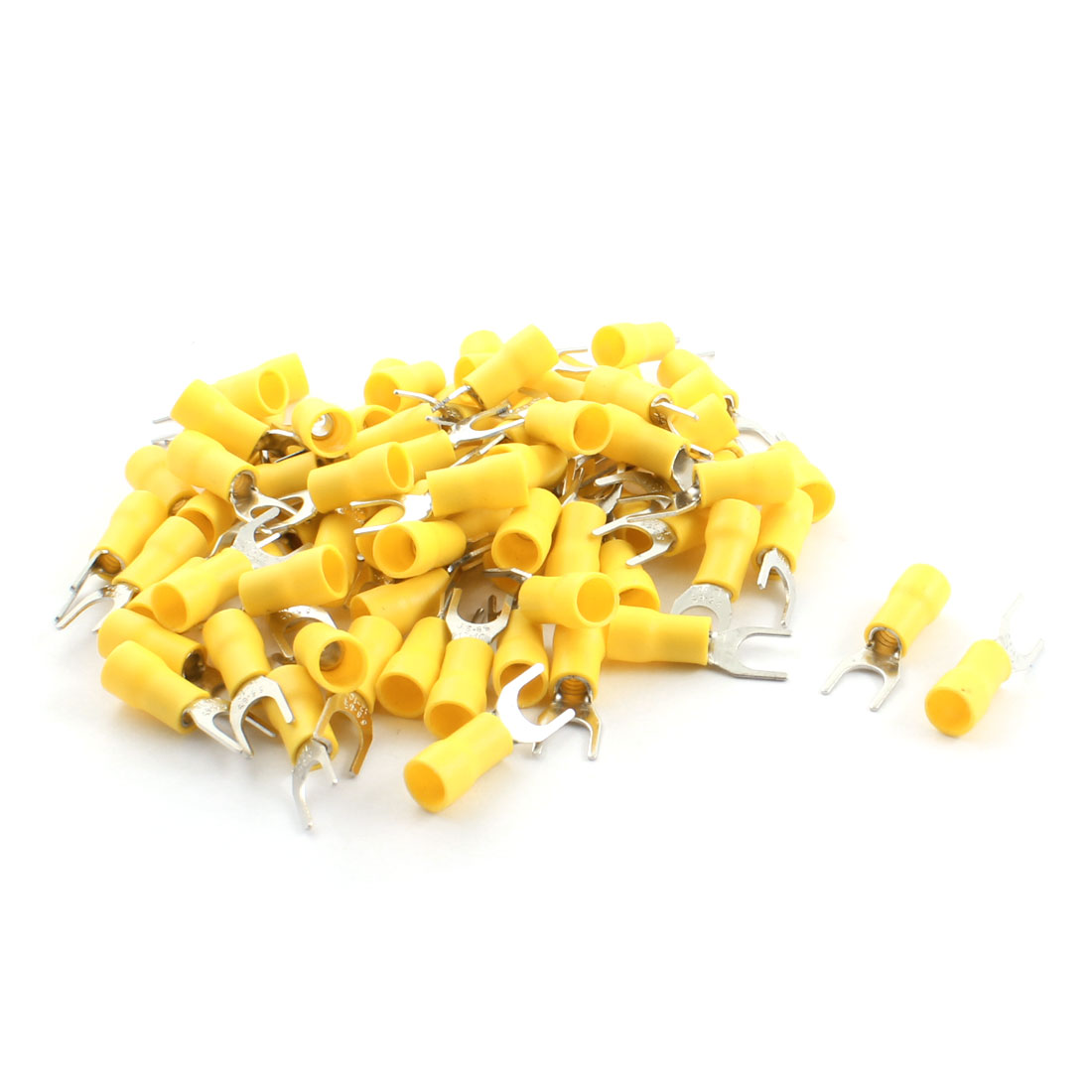 80Pcs SVS5.5-6 48A 12-10AWG Yellow Pre Insulated Electrical Furcate Terminal Cable Connector 6.4mm