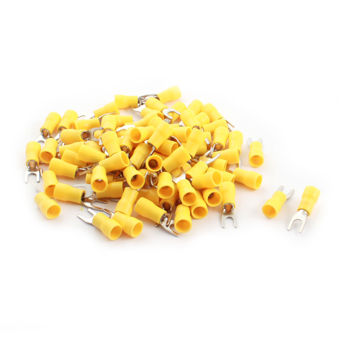 80Pcs SVS5.5-4 48A 12-10AWG Yellow Pre Insulated Electrical Furcate Fork Terminal Cable Connector 6.4mm Dia