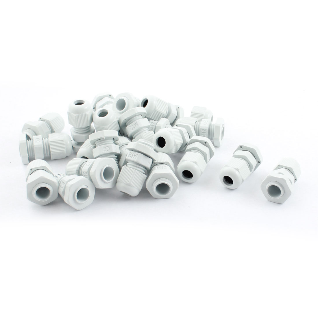 20Pcs M12 Locknut Male Thread 3-6.5mm Range Adjustable White Plastic Waterproof Cable Gland Cord Grip Connector