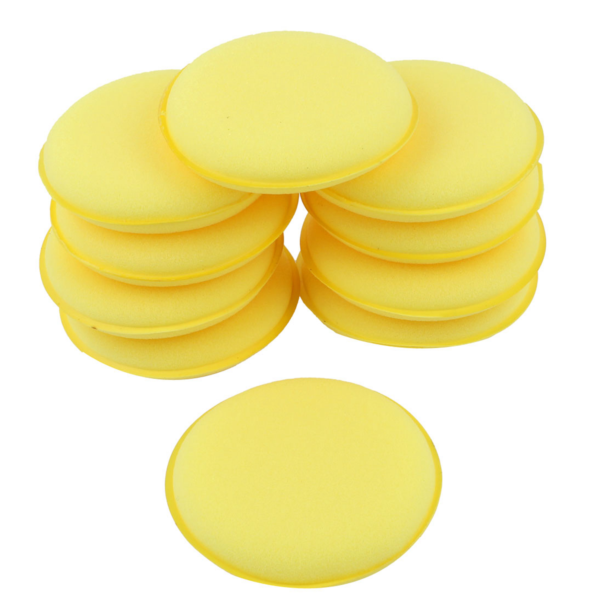 "10 Pcs Round Shaped 4"" Dia Sponge Wax Applicator Pads Yellow for Car"