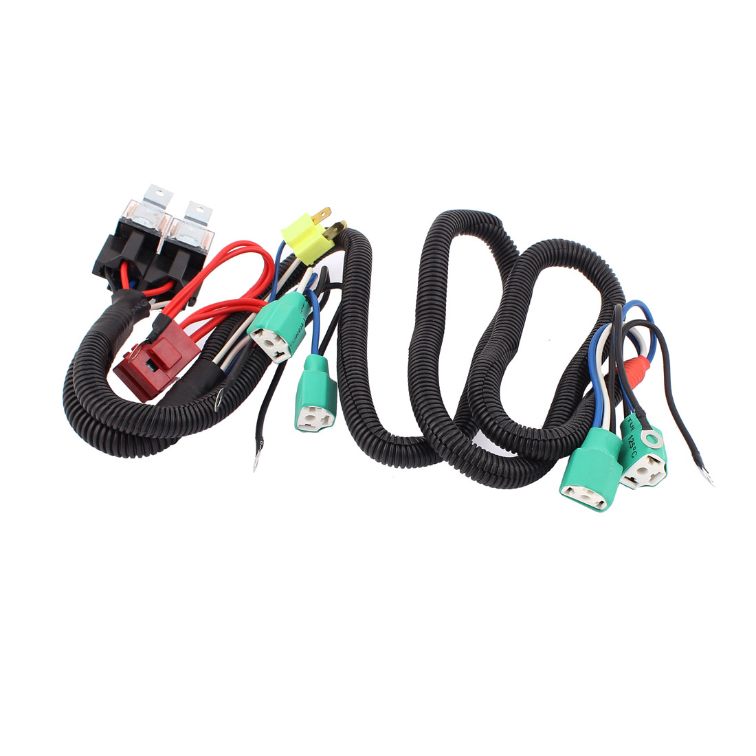 Car 80A Fuse 4 H4 HID Headlight Fog Bulb Female Adapter Relay Harness Wire