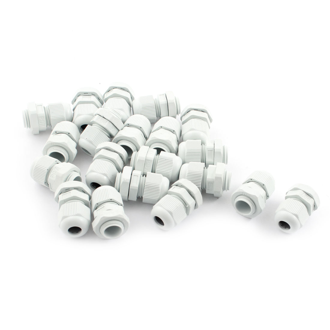 20Pcs Waterproof Gland Connector PG7 w Nut for 3.5-6mm Dia Cable Wire