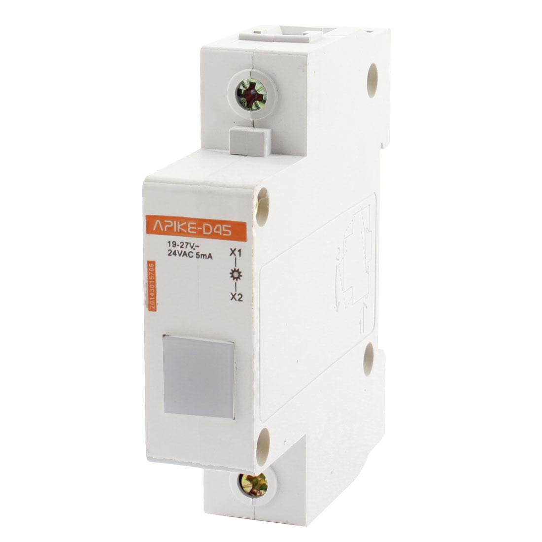 35mm DIN Rail Mount AC 24V 5mA White LED Modular Power Indicator Light Lamp