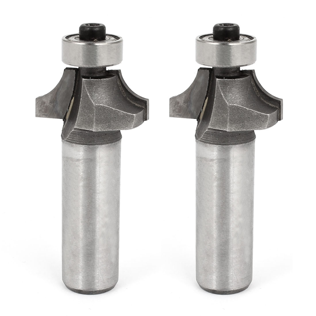 "1/2"" x 1/2"" Silver Tone End Bearing Corner Rounding Over Router Bit 2 Pcs"