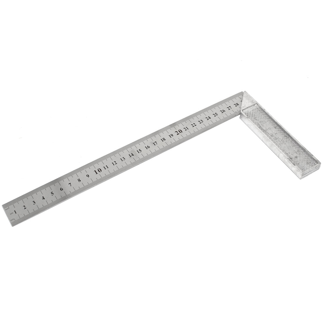 30cm 90 Degree L Shape Square Ruler Tool Silver Tone