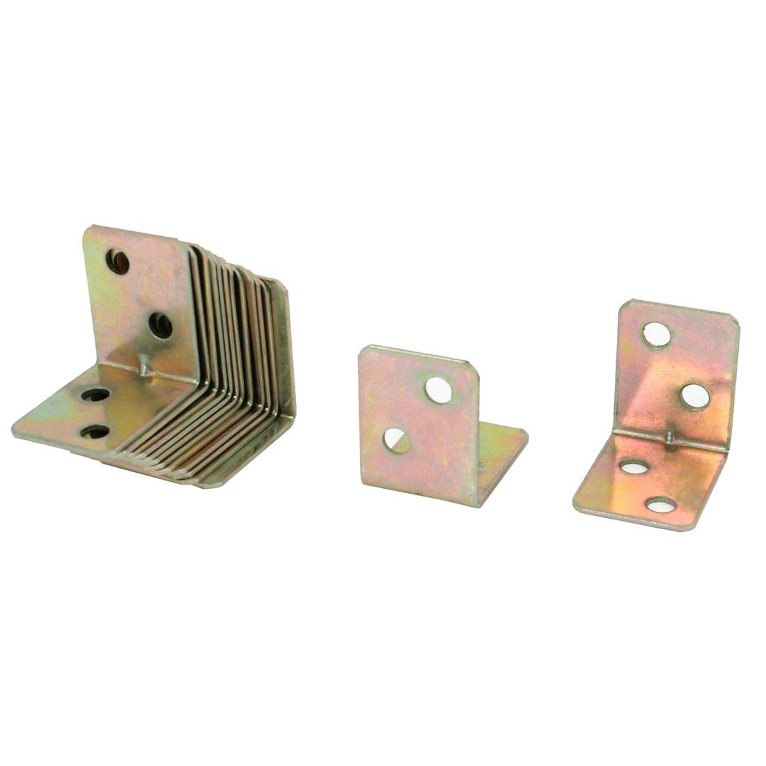 15 Pcs 25mm x 25mm Chair Door Right Angle Brackets Corner Braces Bronze Tone