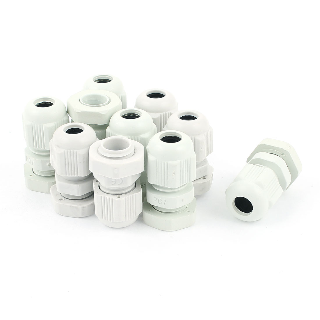 10 Pcs PG7 3.5mm to 6mm Waterproof Connector Adapter Plastic Cables Glands White