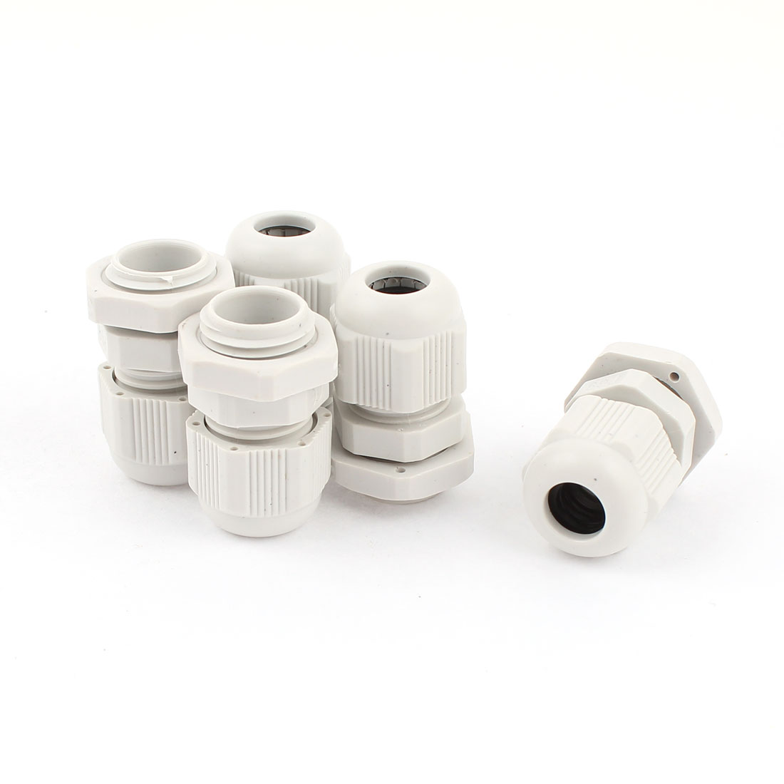 5 Pcs 4mm-8mm Diameter Cable Glands Plastic Fasteners Joint Connectors PG9 White