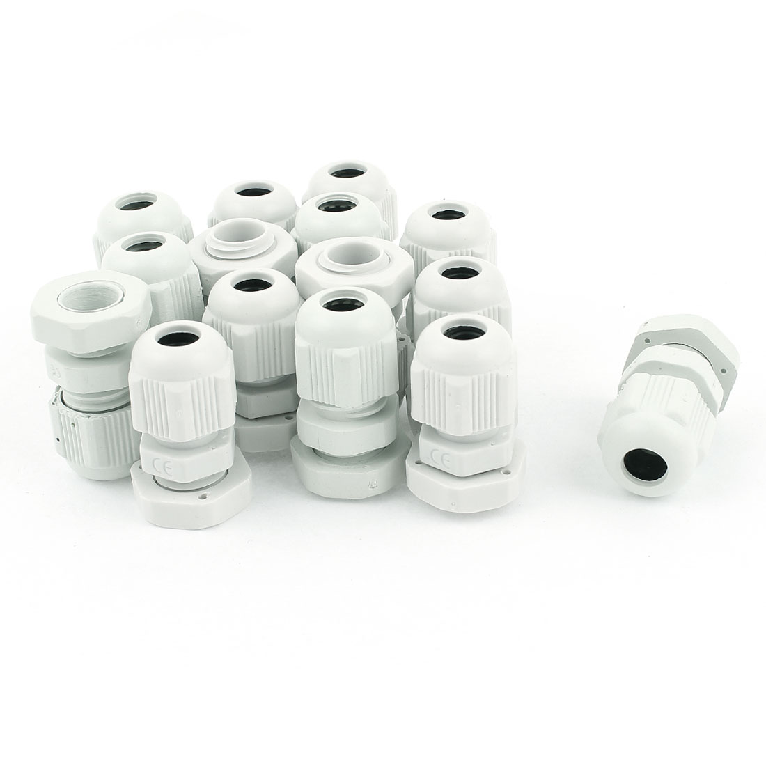 15 Pcs PG7 3.5mm to 6mm Waterproof Connector Adapter Plastic Cables Glands White