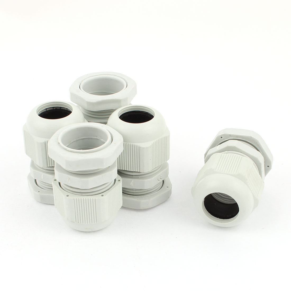 5 Pcs PG19 12mm to 15mm Waterproof Connectors Adapter Plastic Cable Glands White