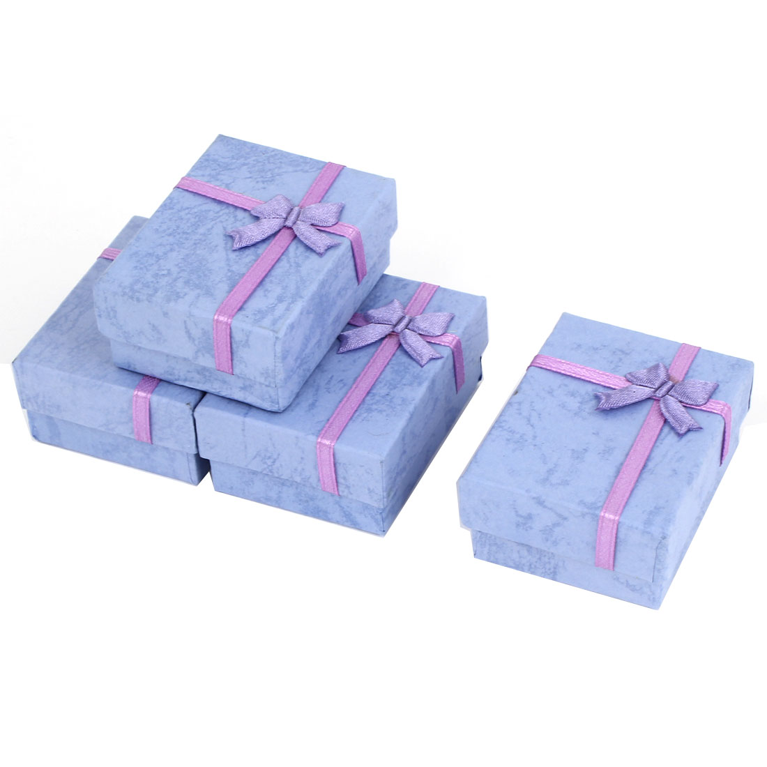4 Pcs Purple Bowknot Accent Cardboard Square Present Container Case