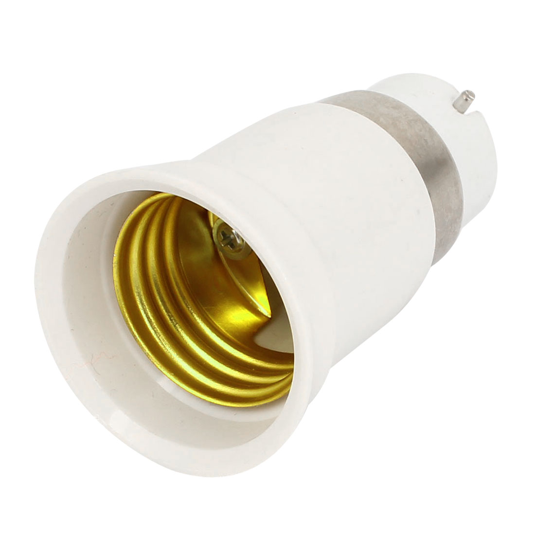 White Plastic Shell B22 Type to E27 Type Bulb Holder Lamp Socket Plug