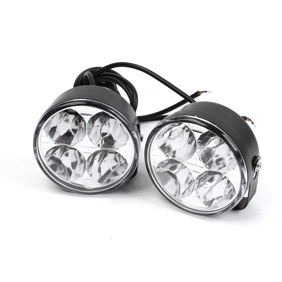 Pair Round Shape 4 LED White Car DRL Daytime Running Light Driving Lamp