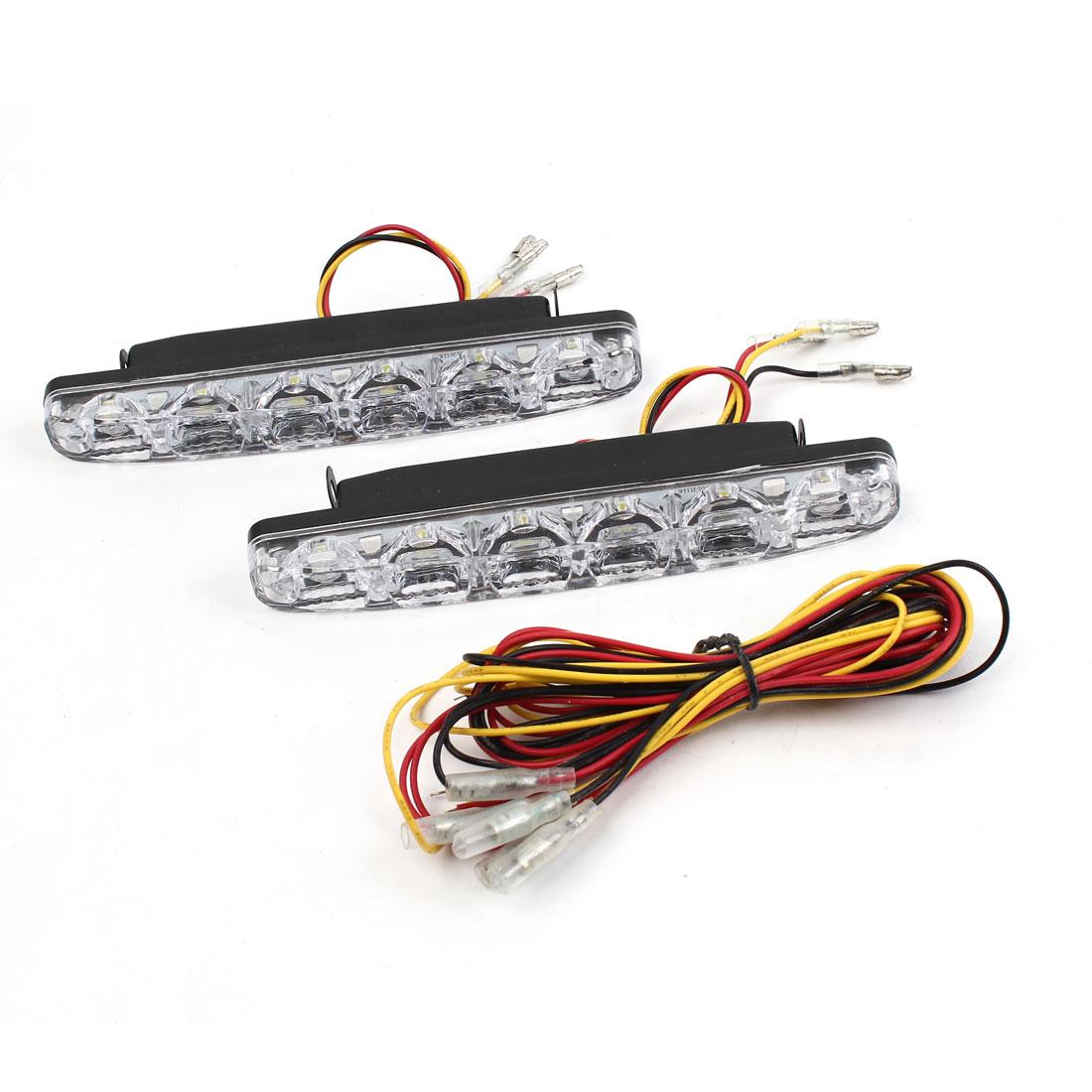 Pair 12V Van White Yellow 6 LED DRL Daytime Running Lamp Light Driving Blub