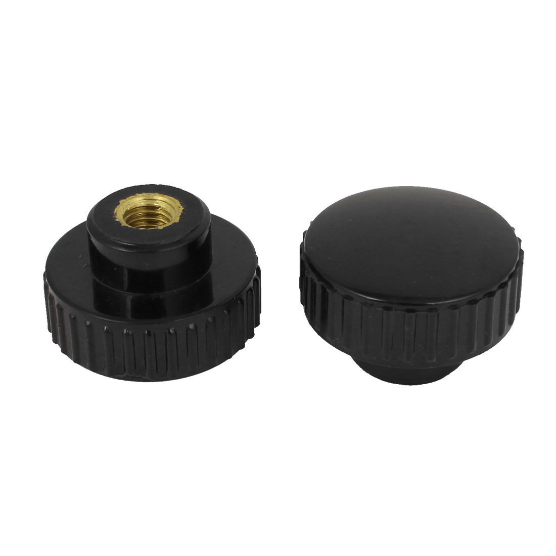 2Pcs Black M8 Female Thread Dia Screw On Type Clamping Round Krnob