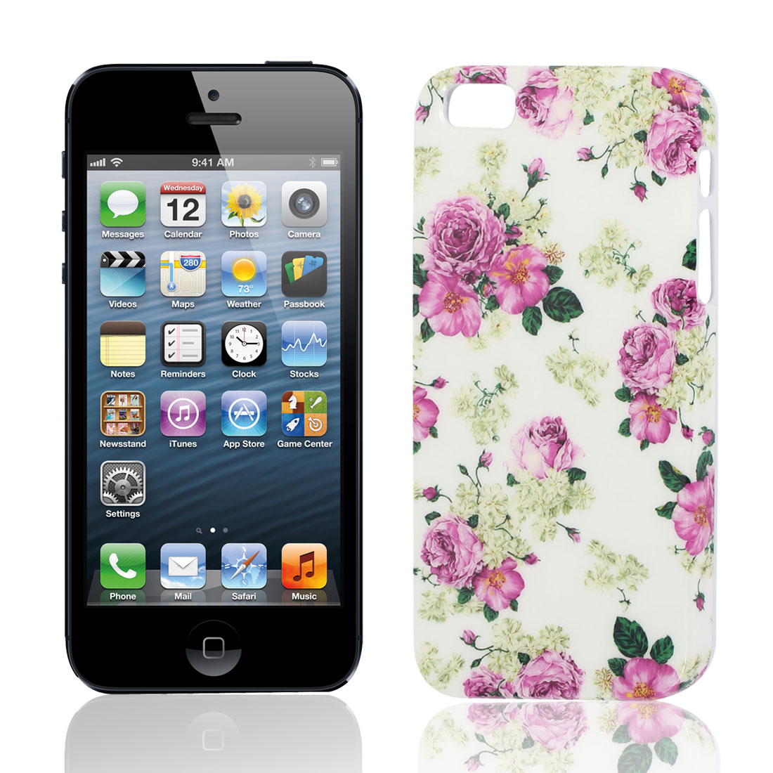 Fuchsia Green White Flower Printed Hard Plastic Case Cover for iPhone 5 5G 5S