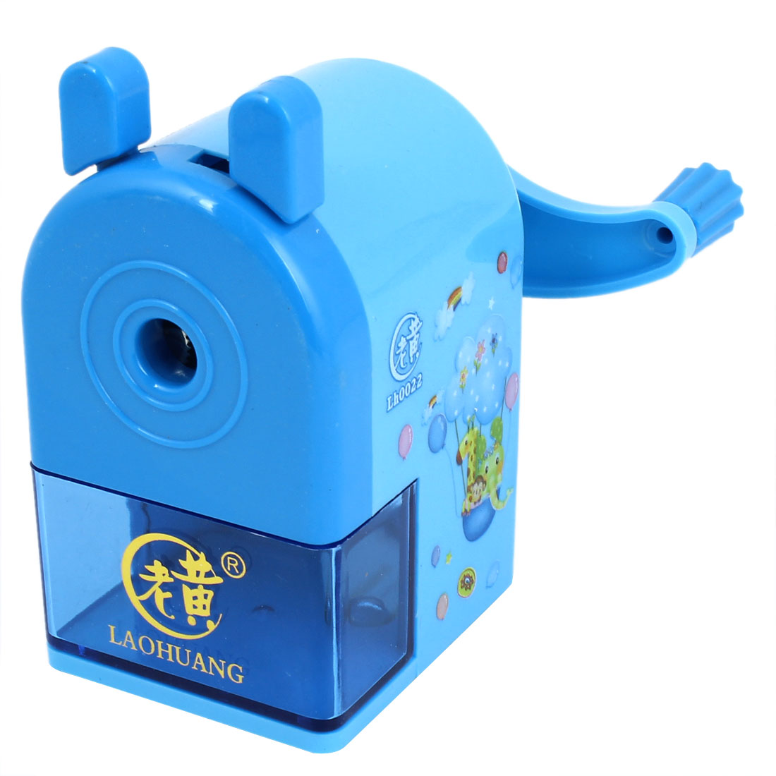 Portable Blue Plastic Housing Rotatable Handle Pencil Sharpener for Students