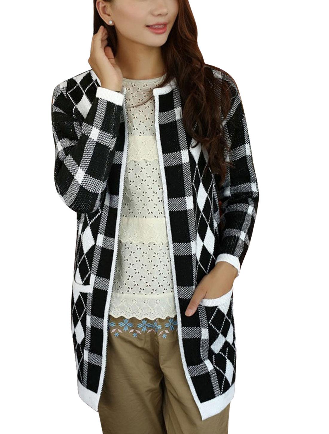 Women Long Dolman Sleeves Argyle Check Pattern Tunic Knit Cardigan Black S