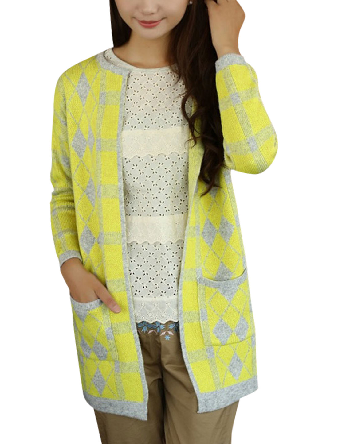 Women Two Patch Pockets Argyle Check Pattern Tunic Knit Cardigan Yellow S