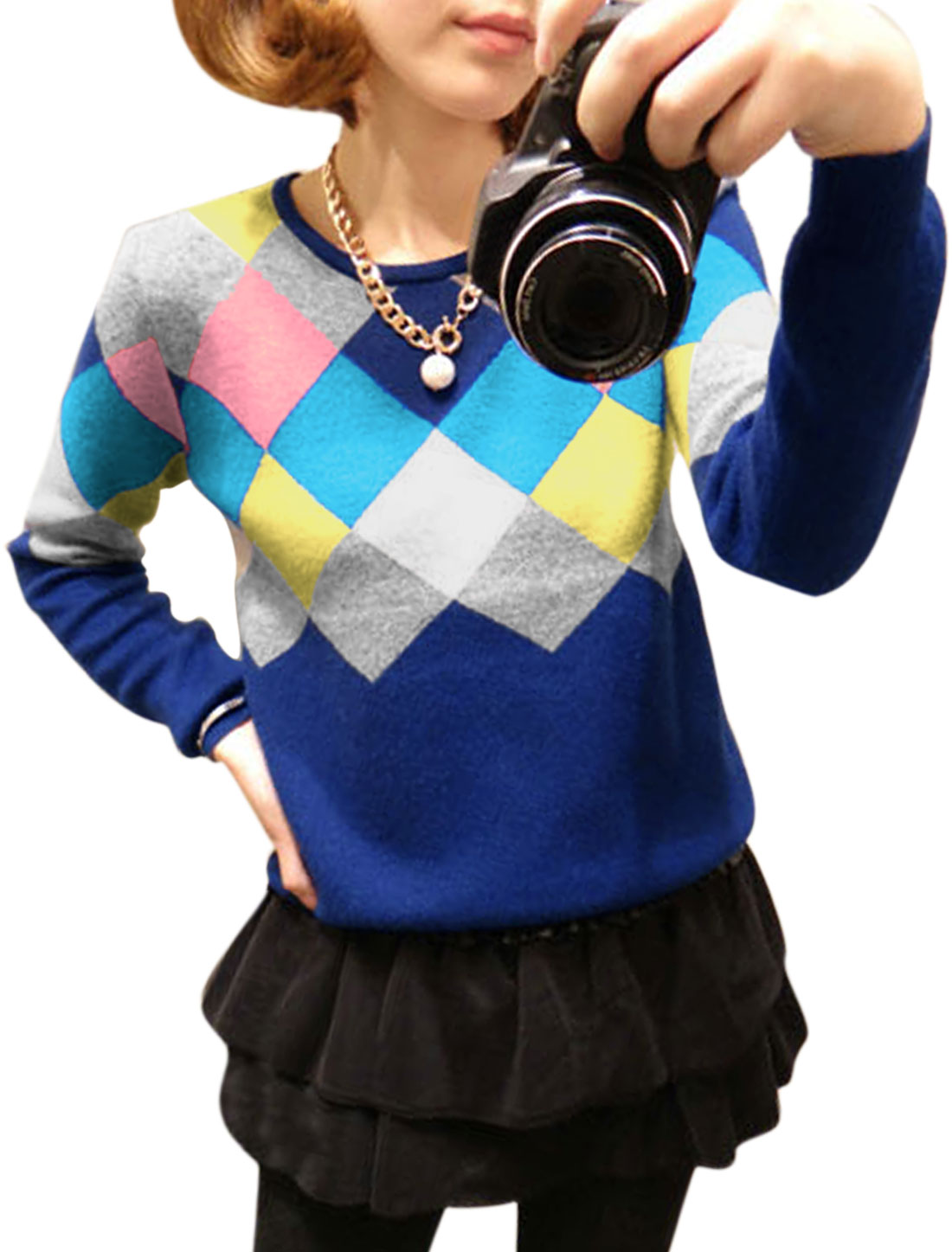 Ladies Blue Pullover Argyle Pattern Long Sleeves Color Block Sweater S
