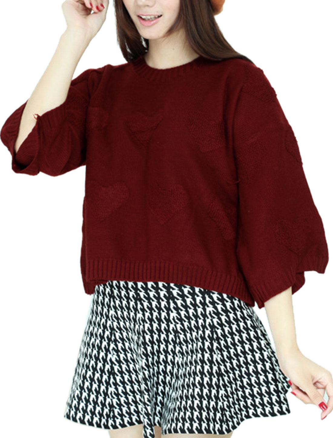 Ladies Burgundy Slipover Split Back Hearts Pattern 3/4 Sleeves Leisure Sweater S