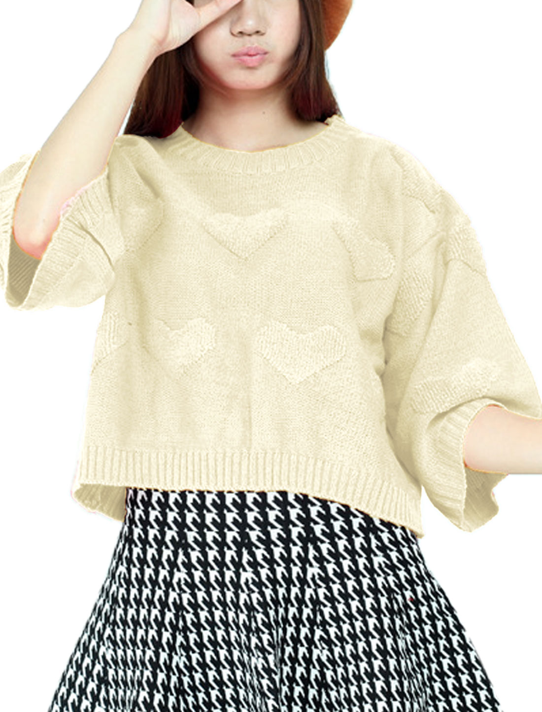 Ladies Beige Pullover Split Back Hearts Pattern Loose Round Neck Sweater S