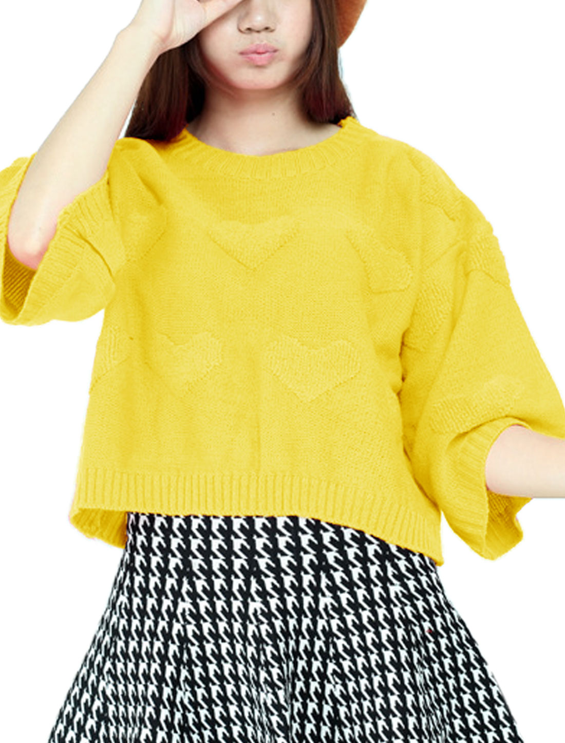 Ladies Yellow Slipover Split Back Hearts Pattern Loose Casual Sweater S