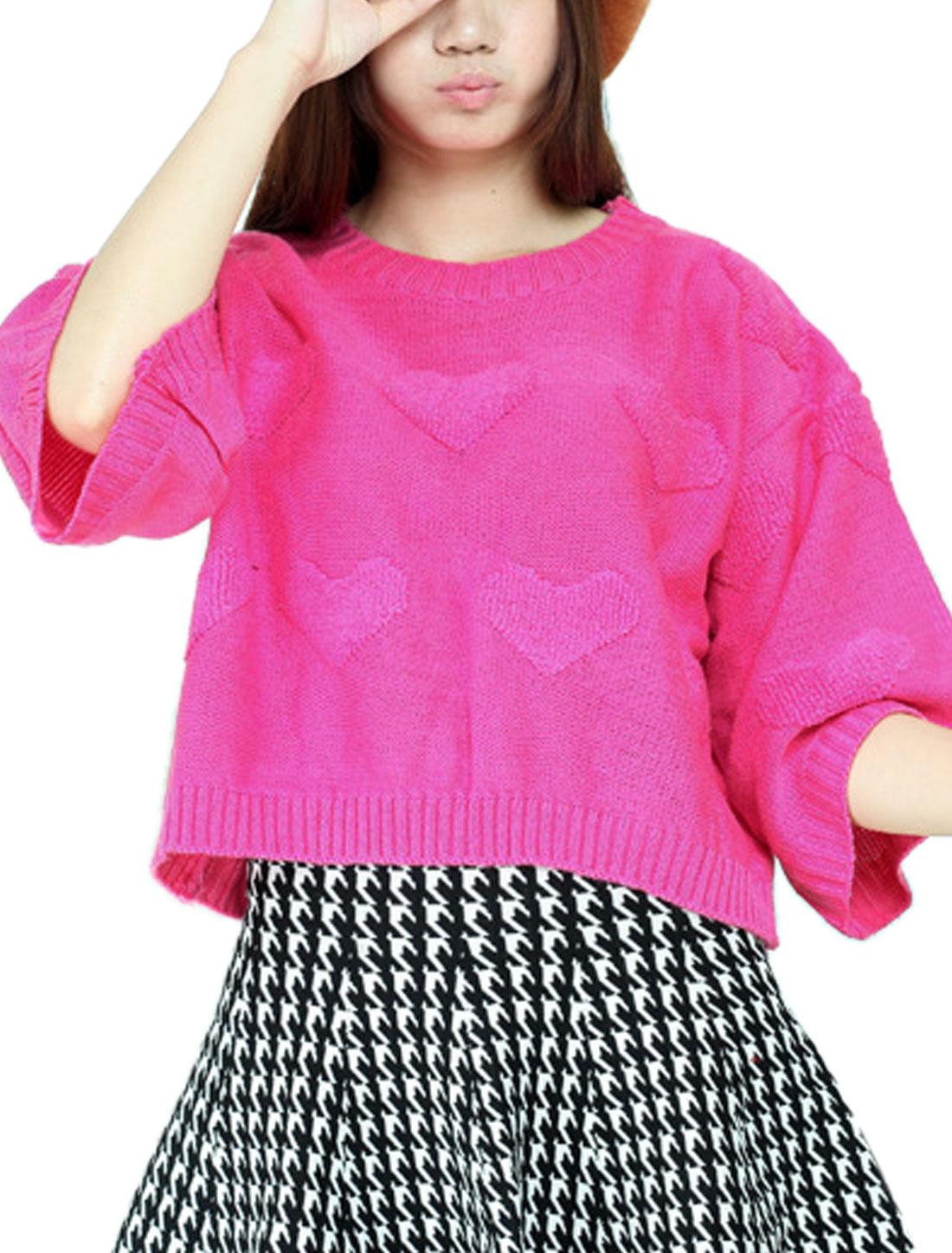 Ladies Fuchsia Pullover Split Back Hearts Pattern Loose Leisure Sweater S