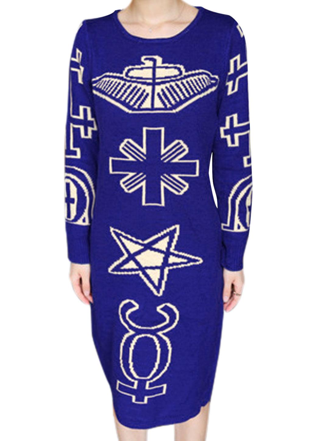 Women Ribbed Cuffs w Hem Cross Stars Novelty Pattern Knit Dress Royal Blue M