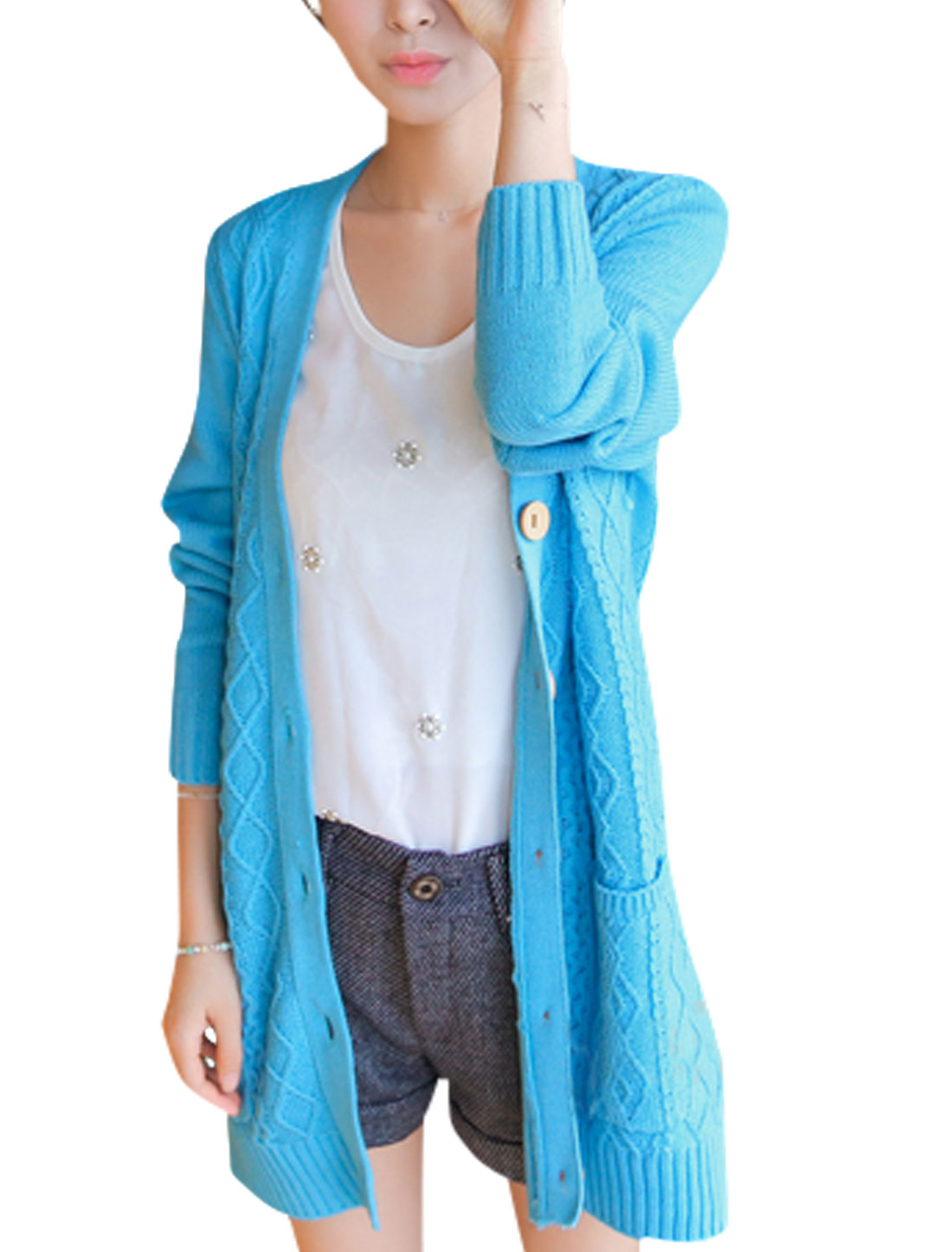 Women Fashion Deep V Neck Cable Rib Knit Design Tunic Knit Cardigan Light Blue XS